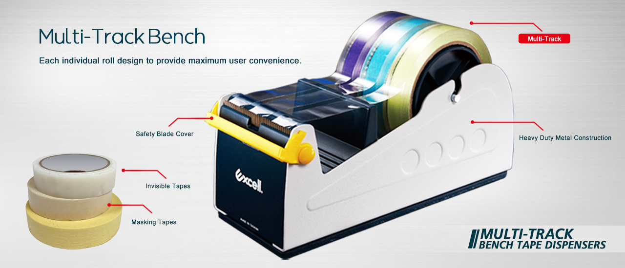 Multi-Track Bench Stationery Tape Dispensers