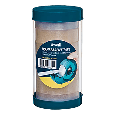 """6TRA-TUBE (19mm wide, 1"""" core transparent tape, 6 rolls in a tube)"""
